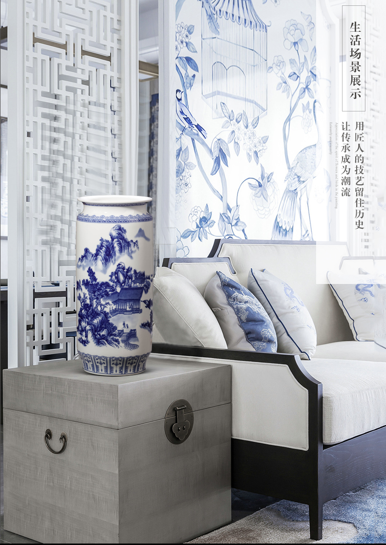 Blue and white porcelain vase furnishing articles of jingdezhen ceramics new Chinese style flower adornment lucky bamboo hydroponic large living room