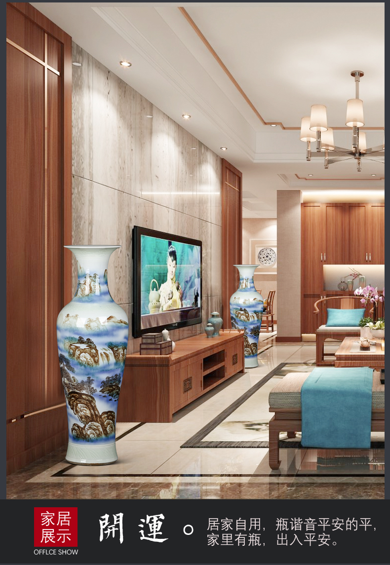 Jingdezhen hand - made color ink splendid sunvo furnishing articles of large vases, extra large sitting room of Chinese style household ceramics