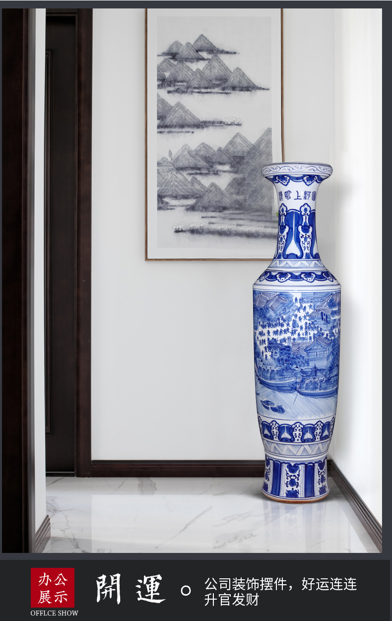 Jingdezhen ceramics hand - made ching Ming vase painting of large high furnishing articles of Chinese style living room home decoration