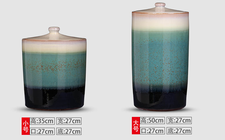 Jingdezhen ceramic household with cover variable seal pot 20 jins 40 kg barrel insect - resistant moisture storage tank caddy fixings