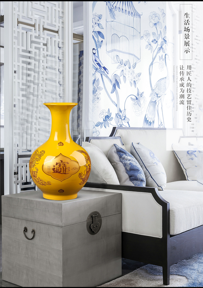 Jingdezhen ceramic maxim vase furnishing articles of Chinese style porch sitting room TV ark, flower decorations arts and crafts