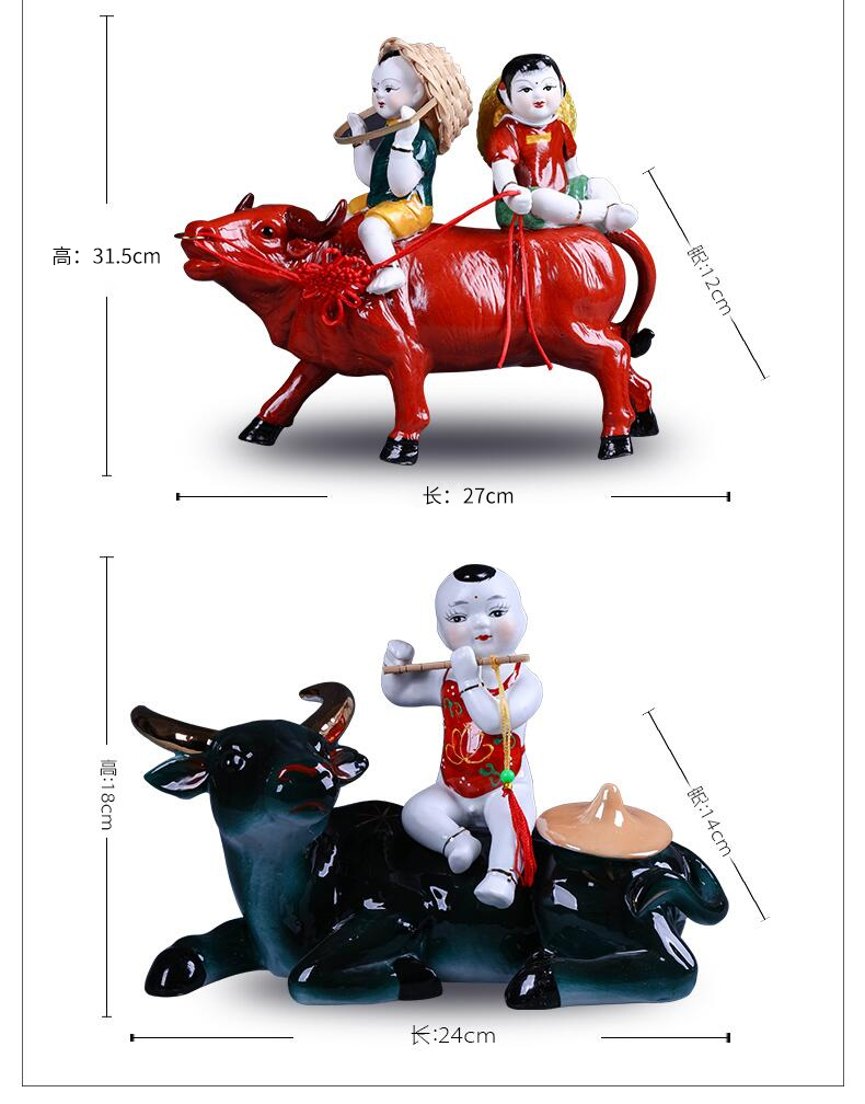 Jingdezhen ceramics furnishing articles home wine TV ark adornment of I sitting room boy ride to arts and crafts