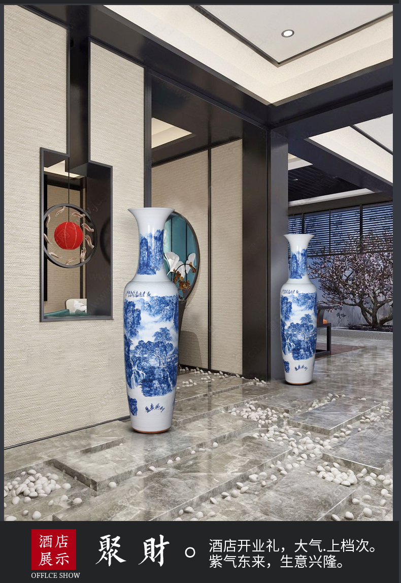 Jingdezhen ceramic hand - made large blue and white porcelain vase to heavy Chinese style home furnishing articles adornment large sitting room