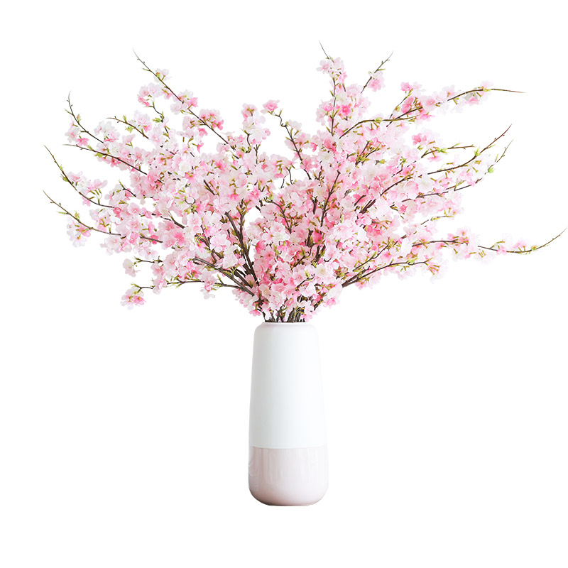 USD 14.23] Simulation cherry blossoms peach flower Silk flower table ...