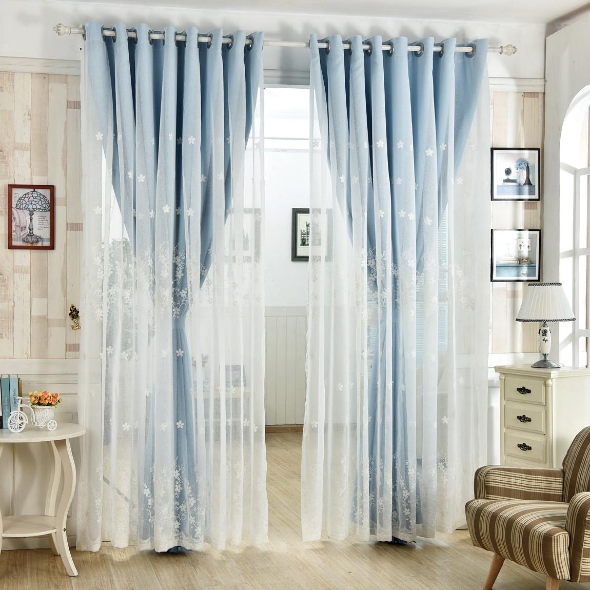 韩式定制窗帘成品客厅卧室纯色蕾丝落地飘窗遮阳全遮光布新款特价