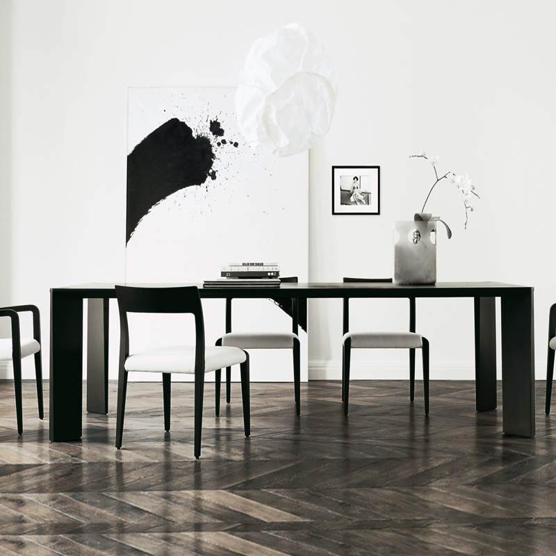 北歐餐桌維瑪家居現代簡約餐廳實木北歐長方形餐桌黑色家用飯桌