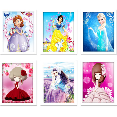 Children's diamond stickers full of diamonds new pupils point diamond painting full of princess stickers full diamond embroidery 30*40 cm