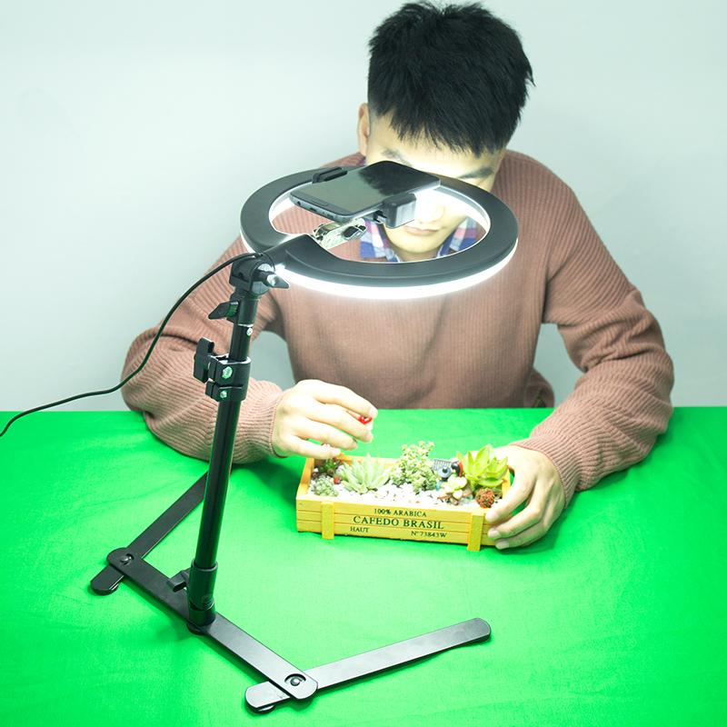 支架俯拍视频手机直播架多功能灯架摄影拍摄扫描俯拍补光手机拍抖音桌面微课录制支架在线直播俯拍拍照稳定器