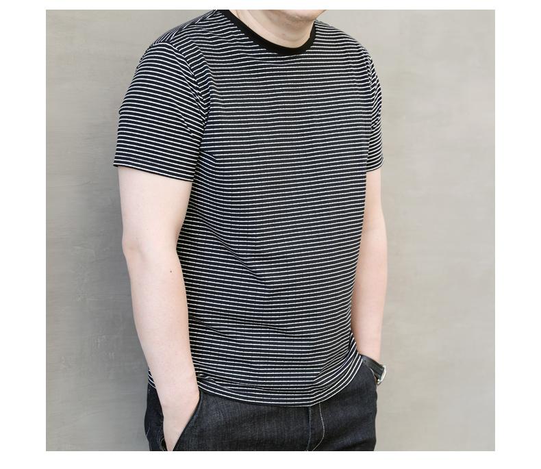 Lớn lo lắng-miễn phí mùa hè mới sọc mỏng chất béo triều lớn của nam giới cộng với phân bón XL vòng cổ của nam giới ngắn tay t-shirt