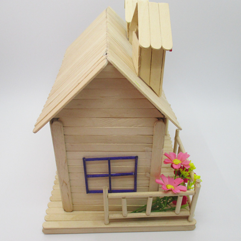 Ice Cream Stick Kindergarten Handmade Diy Cabin House Popsicle Stick
