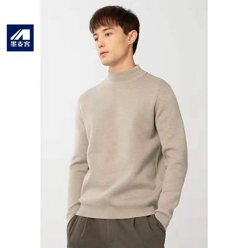 Ink Mike nam mùa thu và mùa đông dày nửa cao áo len cao cổ nam mid-áo thun áo len cơ sở áo sơ mi thủy triều - Hàng dệt kim