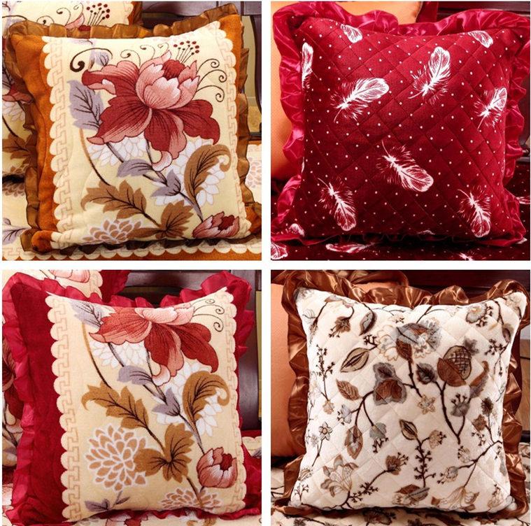 新中式抱枕靠垫套法莱绒红实木沙发腰枕靠背含芯客厅抱枕靠枕套