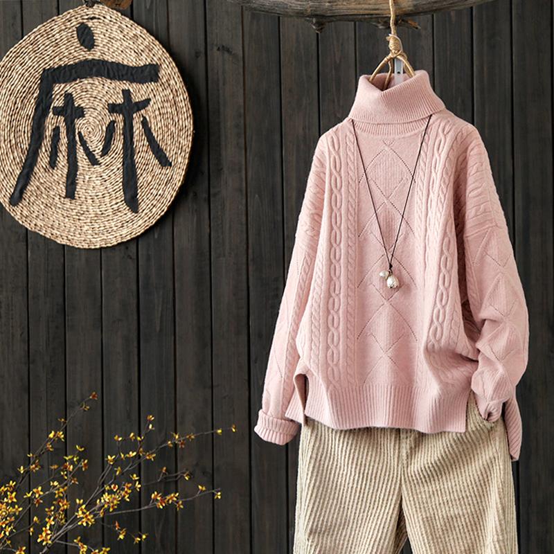 涧蓝原创下摆开叉螺纹麻花纯色高领毛衣打底衫女装冬季套头针织衫