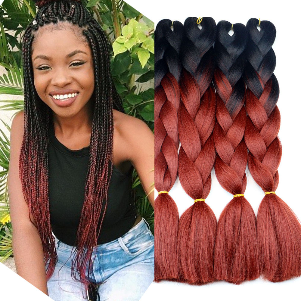 Dirty pigtail female black big pigtail synthetic hair reggae pigtail wig  xpression omber braids