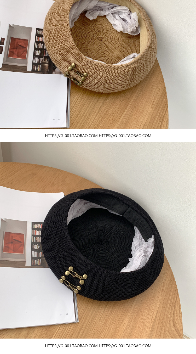 Punk hollow breathable buckle beret hat NHALD337045