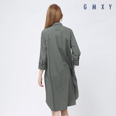 Gỗ cổ buổi tối cừu GMXY2017 mùa thu của phụ nữ loại mới Một chiếc áo sơ mi dài ăn mặc L565305