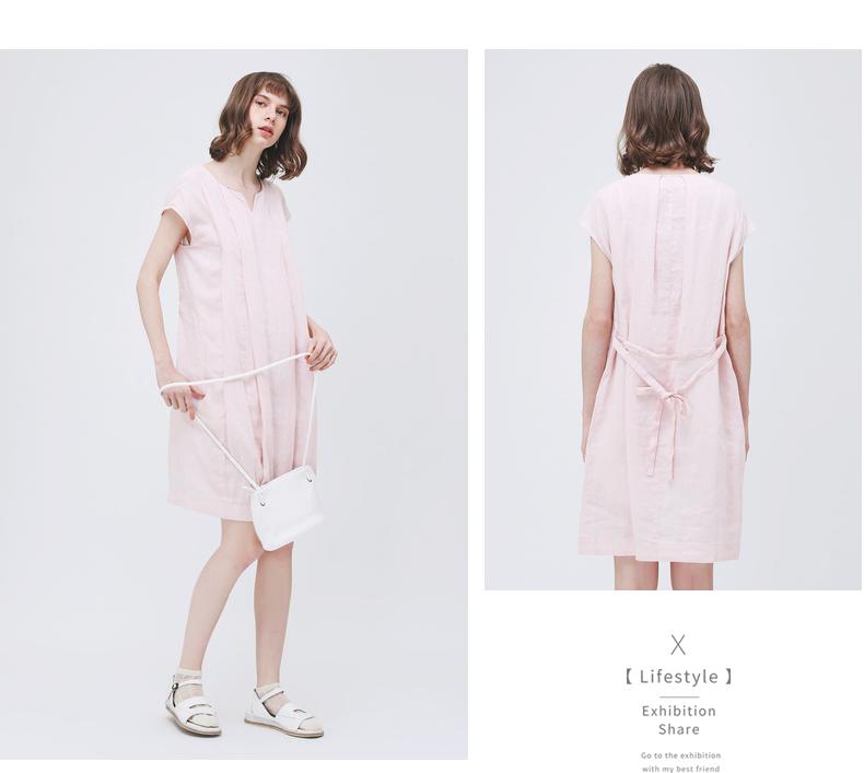 Gumuxiyang GMXY2018 Mùa Hè của Phụ Nữ New Linen Dresses Ngắn Tay Áo Mới Nghệ Thuật V-Cổ Váy đầm váy đẹp