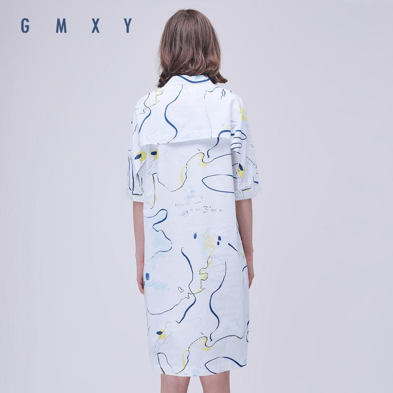 Gỗ cổ cừu GMXY2018 phụ nữ mùa hè mới nhỏ tươi graffiti váy cotton váy phong cách mới