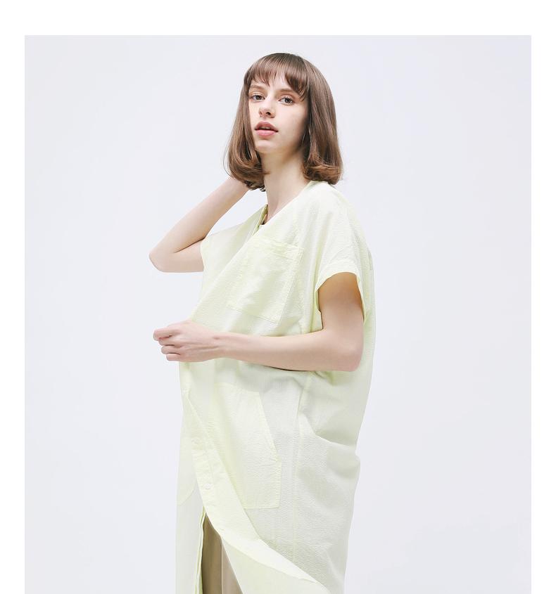 Cổ Muxi cừu GMXY2017 mùa hè của phụ nữ nghệ thuật mới túi lớn áo sơ mi dress new breathable vòng cổ váy
