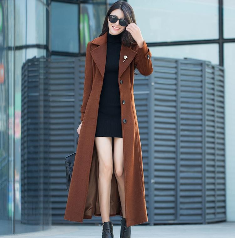 羊绒大衣女冬季新款流行外套大衣加厚赫本风超长款过膝毛呢女修身