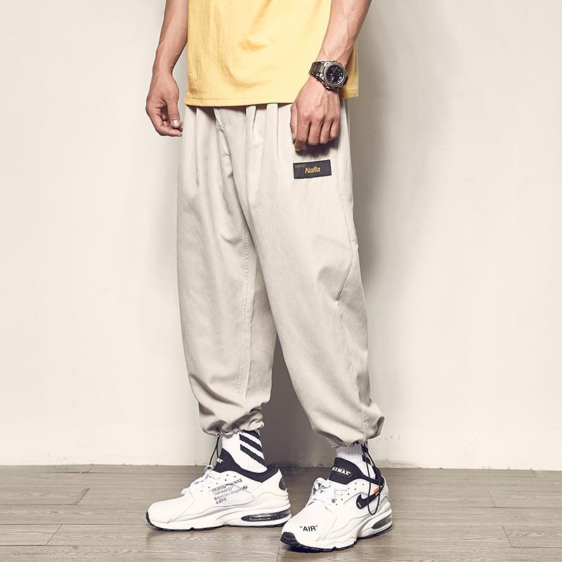 男道夏季新款男士束脚裤纯色日系复古宽松休闲裤男新款百搭哈伦裤