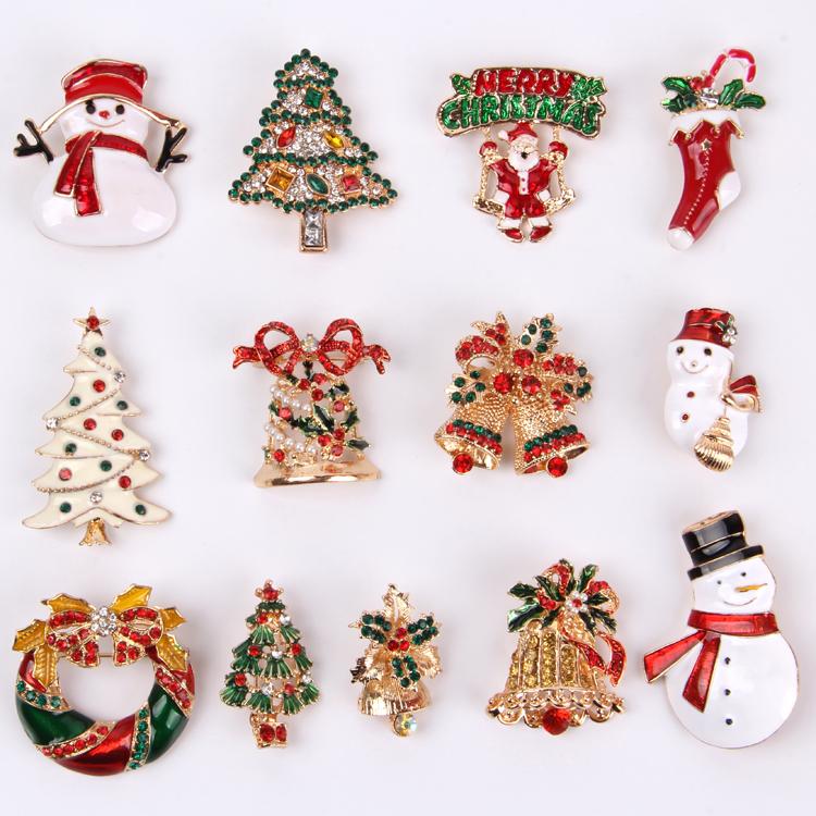 Phong cách mới đồ trang trí chuông kim cương người tuyết Cây Giáng sinh trâm cài nam và nữ cá tính sáng tạo dễ thương Nhật Bản - Trâm cài