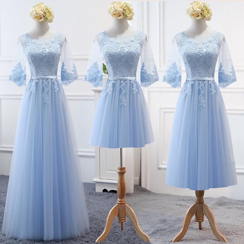 蓝色宴会服中长款晚礼服裙2019新款夏姐妹伴娘闺蜜装婚礼团女显瘦
