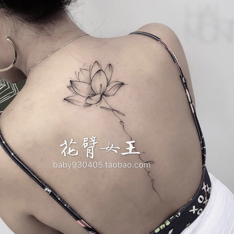 e612c76985057 ... Flower Arm Girl TATTOO D77 Hand-painted Black and White Lotus Letters  Back Sexy Tattoo