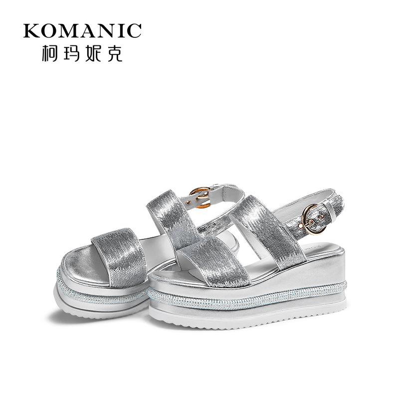 柯玛妮克2019夏季新款女鞋防水台高跟露趾亮片坡跟厚底凉鞋女