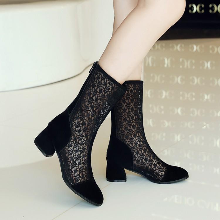 春款女靴中跟网靴镂空靴子春秋短靴女粗跟单靴网眼靴网纱女鞋夏季