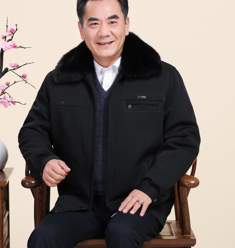 爸爸冬装棉衣男老年人爷爷加绒加厚外套保暖冬季可拆卸60-70-80岁
