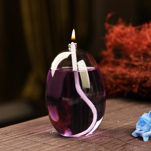 创意无烟玻璃油灯蜡烛台款家居摆件结婚礼物送灯油特色礼物
