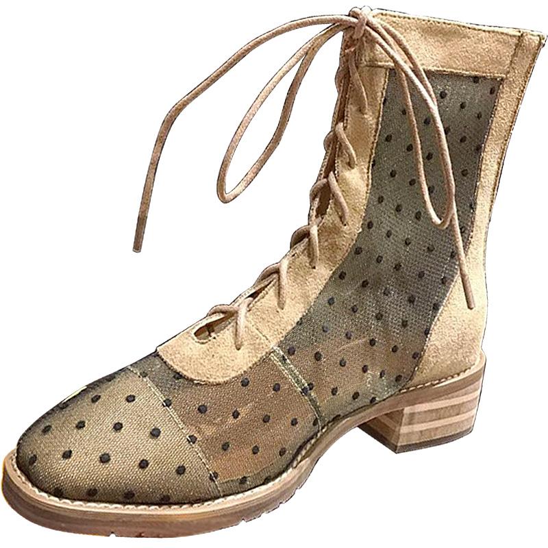 涼靴女2019夏季新款時尚方頭低跟系帶短靴網面透氣馬丁波點涼靴