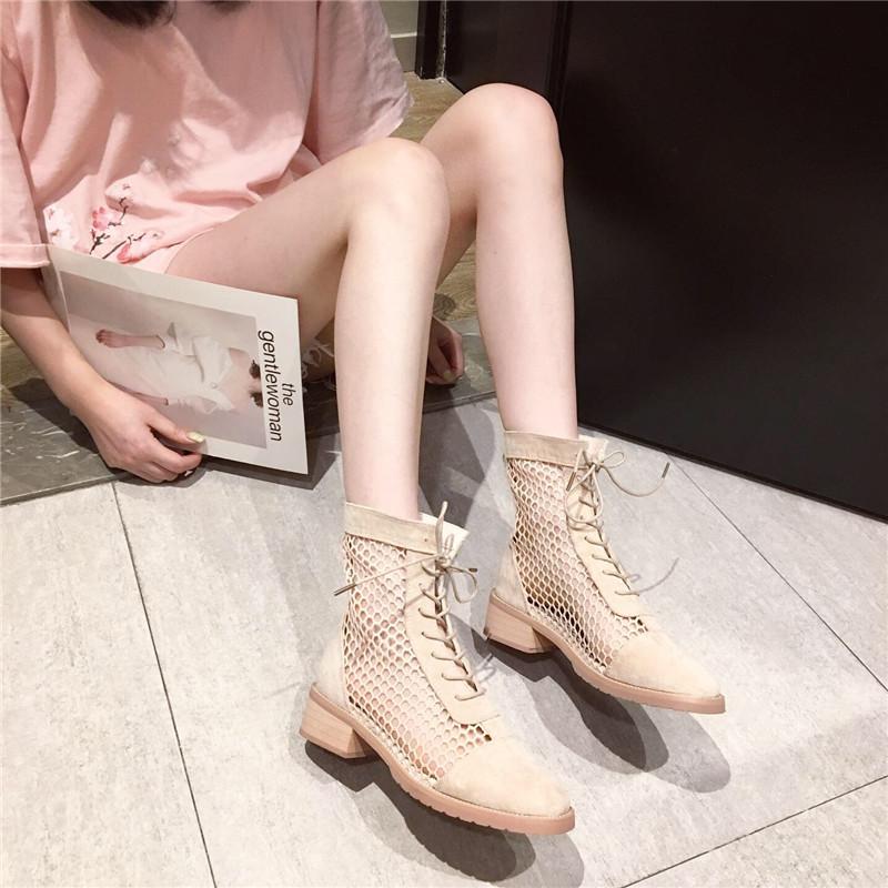 红中凉靴夏季透气女2019网靴镂空带跟网女靴跟系带短靴英伦风短靴