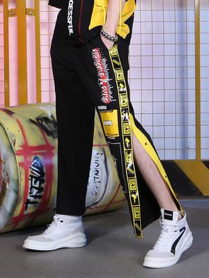 GENANX闪电潮牌休闲裤男一裤多穿嘻哈街头印花织带宽松原创设计潮