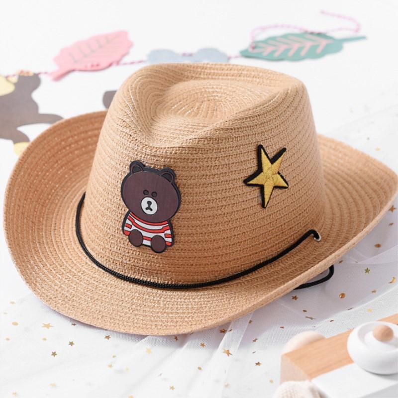 儿童草帽男童海边沙滩遮阳帽夏季防晒小孩西部牛仔帽子太阳帽潮