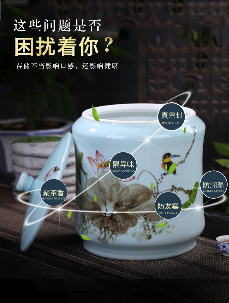 Jingdezhen ceramic storage tank hand - made lotus bird pu 'er tea pot furnishing articles large study seven cakes tea urn