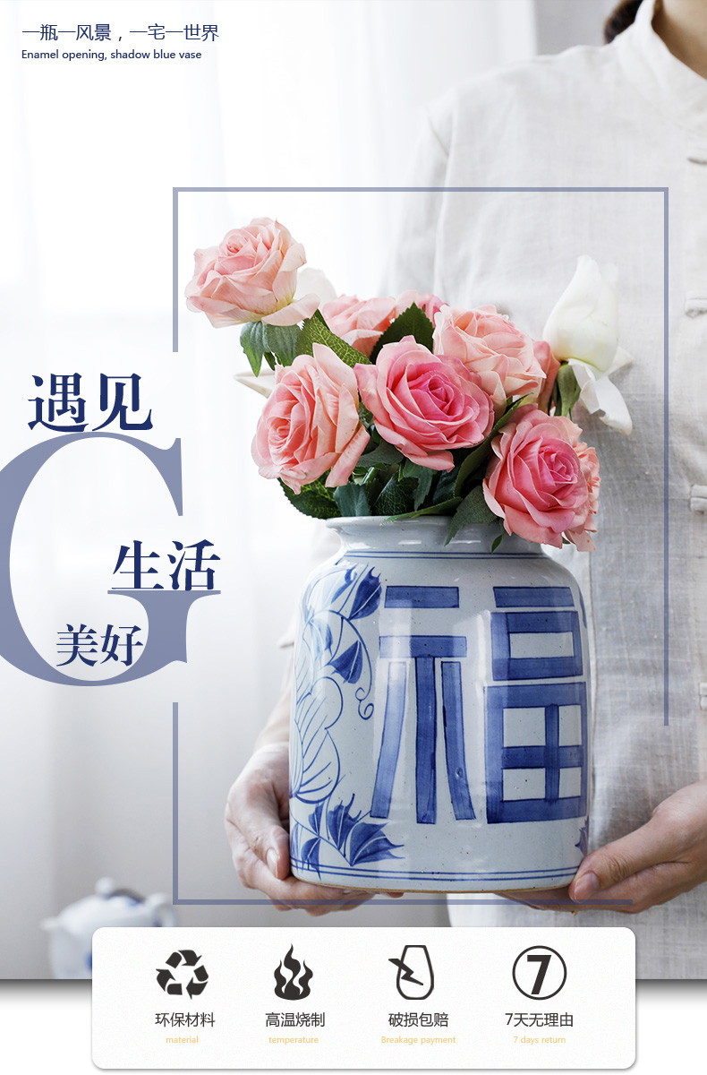 Hand - made happy character coarse pottery blue and white porcelain vases, small ornament pottery flower implement sitting room tea water keep dry flower arranging flowers