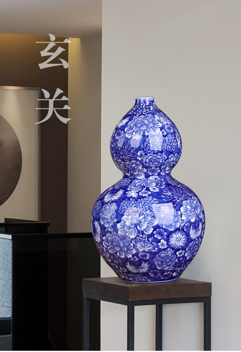 Blue and white porcelain of jingdezhen ceramics big gourd porch place town curtilage sitting room adornment large Chinese porcelain arts and crafts