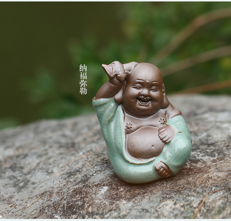 Antique Chinese little novice monk furnishing articles Chinese wind the young monk zen furnishing articles furnishing articles tea small decorative ceramic Buddha