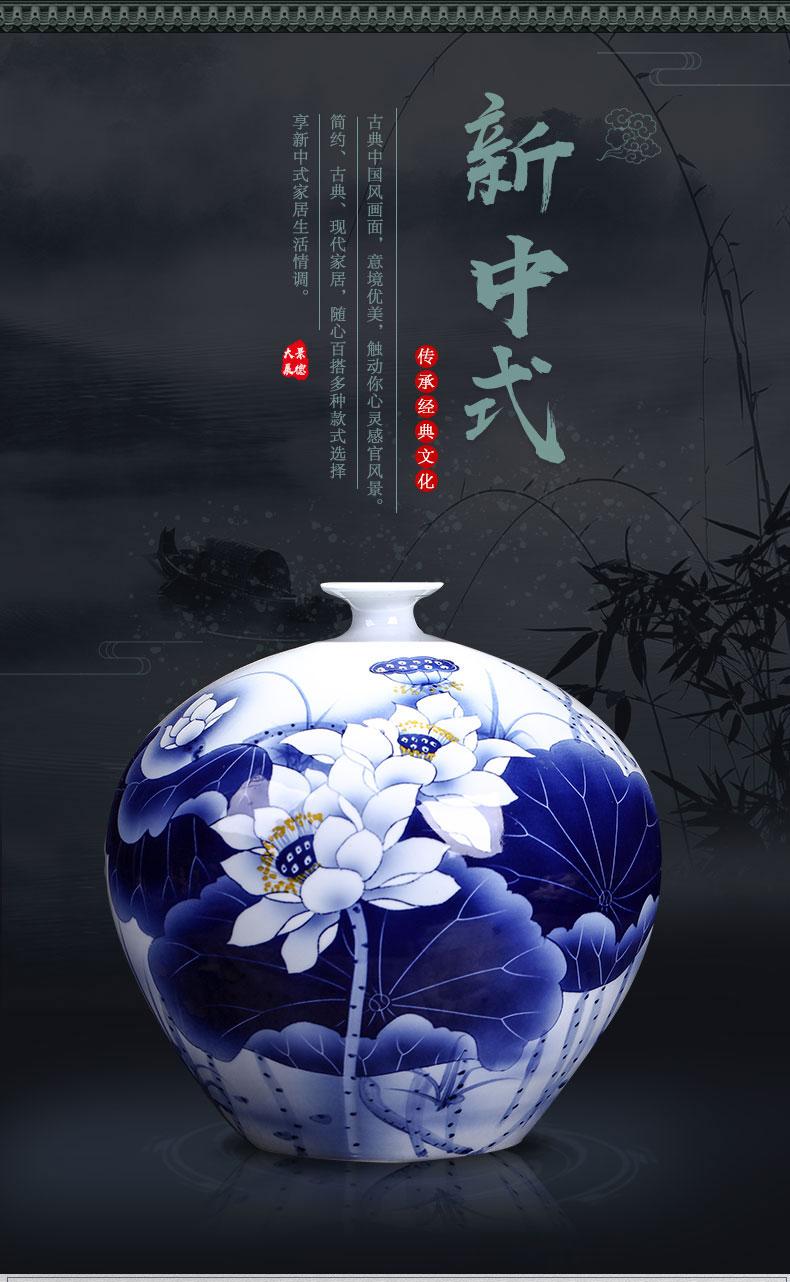 Jingdezhen Ceramics Hand Painted Blue And White Porcelain Vases Living Room Tv Cabinets
