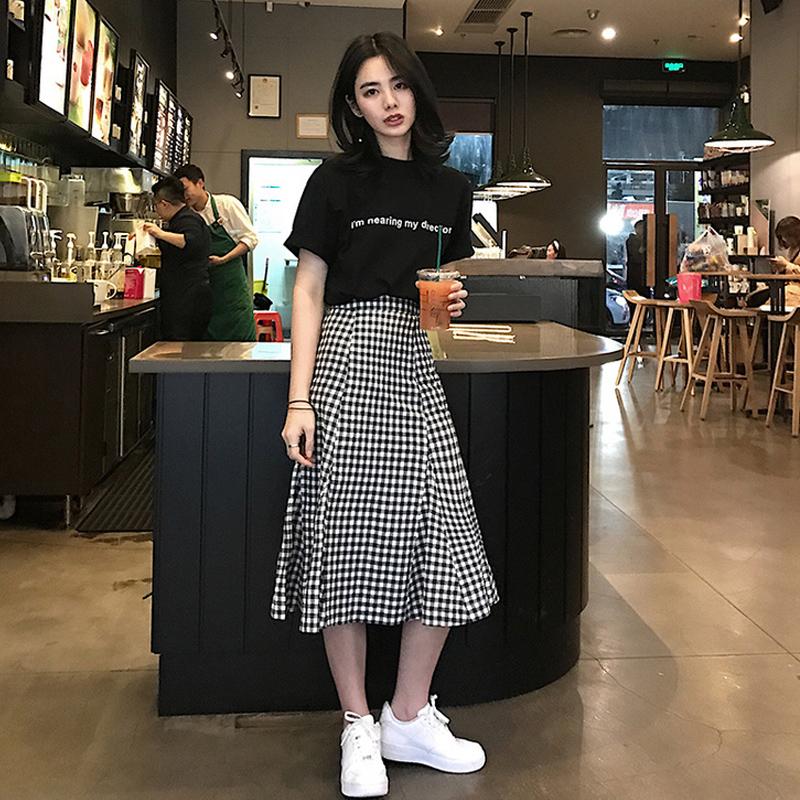 韓版chic俏皮兩件套字母T恤學生格子半身裙中長款魚尾裙時髦套裝