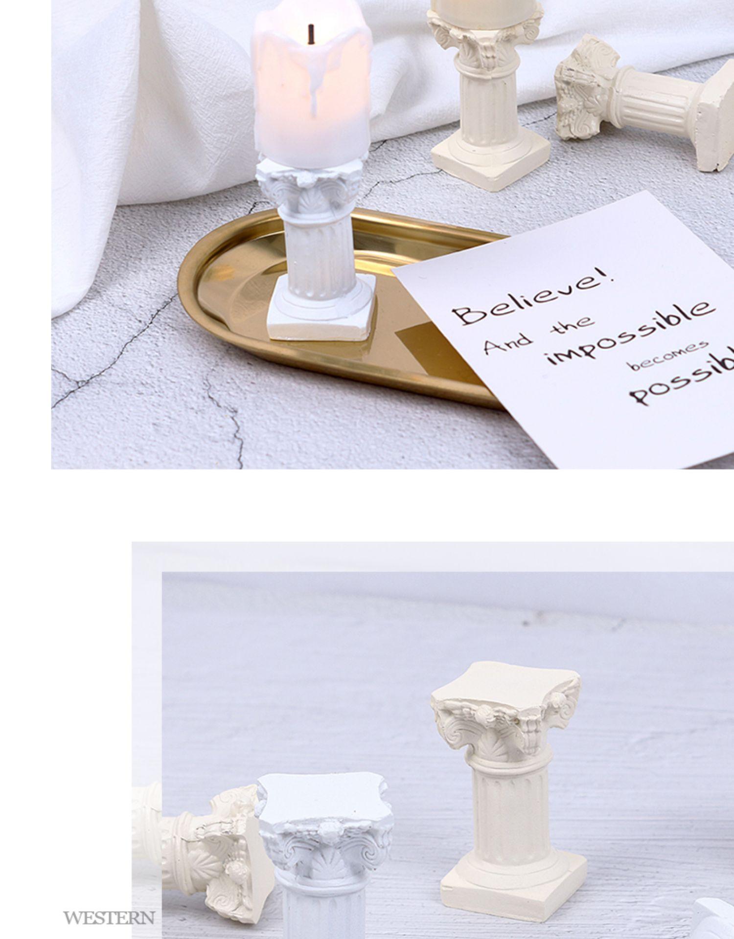 罗马柱蜡烛拍摄道具摆件摄影道具拍照道具装饰背景布摆拍道具详细照片
