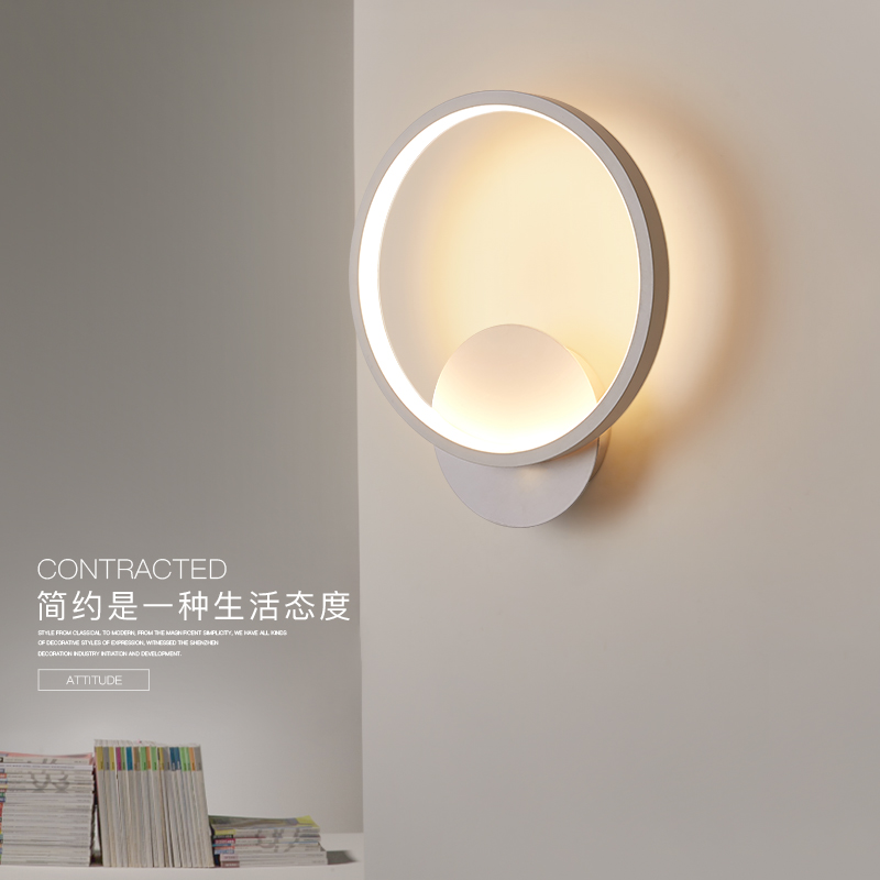 北欧现代简约床头灯壁灯led墙灯温馨过道卧室灯客厅灯壁灯走廊灯