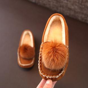 冬季加绒儿童豆豆鞋男女童真毛棉鞋