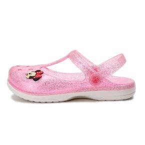 夏季女中童包头洞洞鞋水晶软底