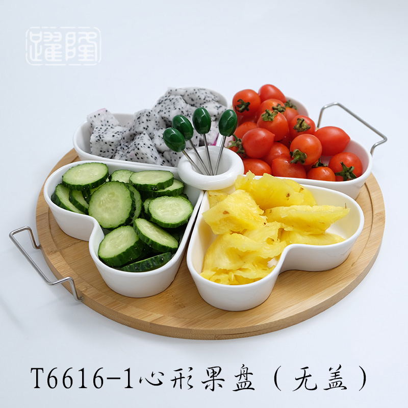 Metal Handle   Round Tray + Heart-shaped Disc + 4 Fork