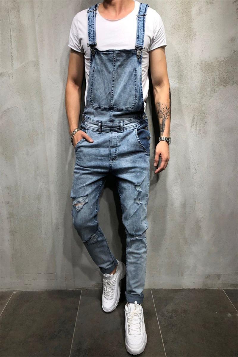 2021 Moda Hombres Rasgado Jeans Denim Babero Overoles Hi Street Style Streetwear Trajes Desgastados Para Hombre Pantalones De Suspens From Macloth 41 52 Dhgate Com