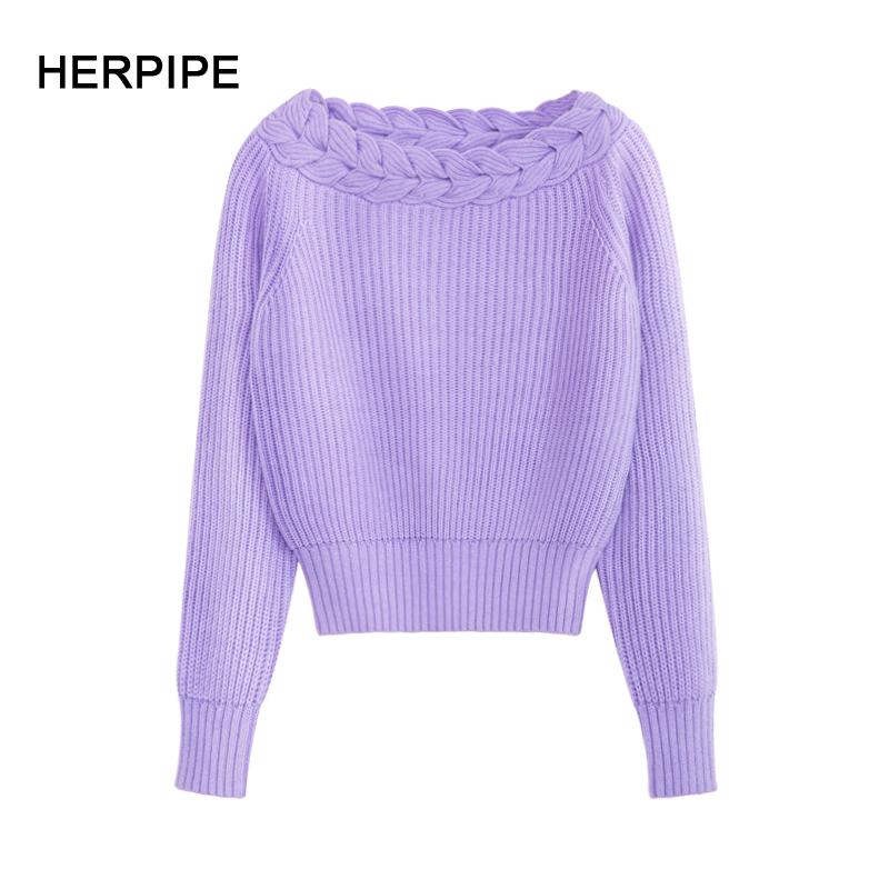 2018秋冬新款日系毛衣打底羊绒套头领一字加厚麻花女装针织短款衫