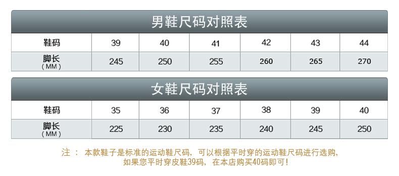 男女鞋尺码对照表(1)